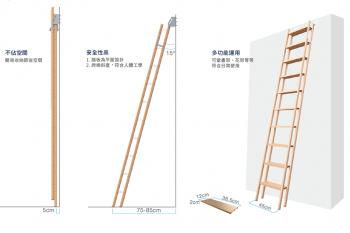 佛司特多功能爬梯:安全爬高可收納、書架花台多功能