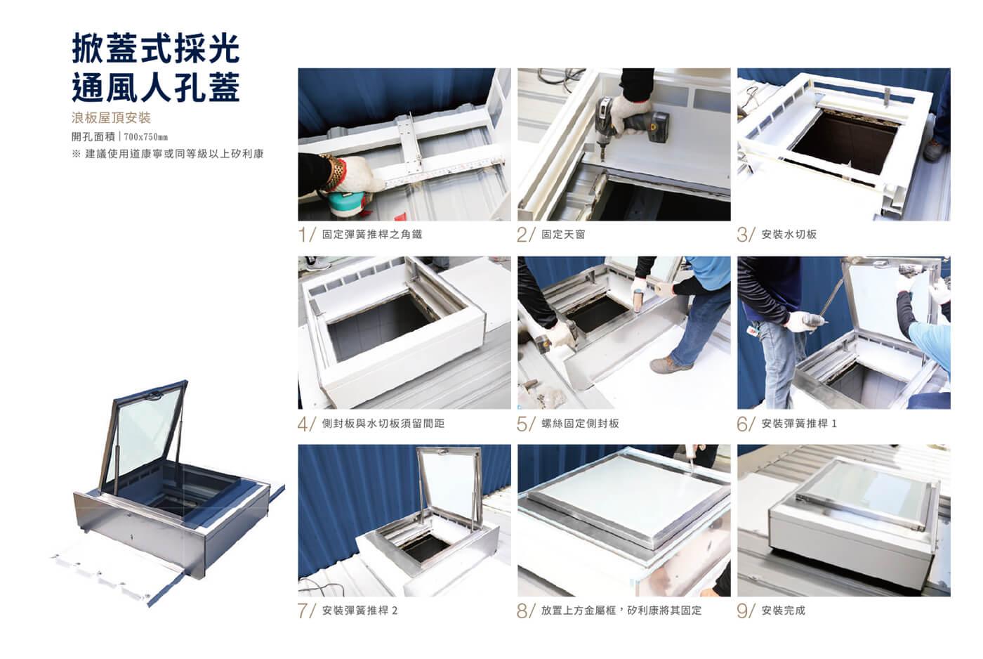 掀蓋式採光通風人孔蓋-簡易安裝流程