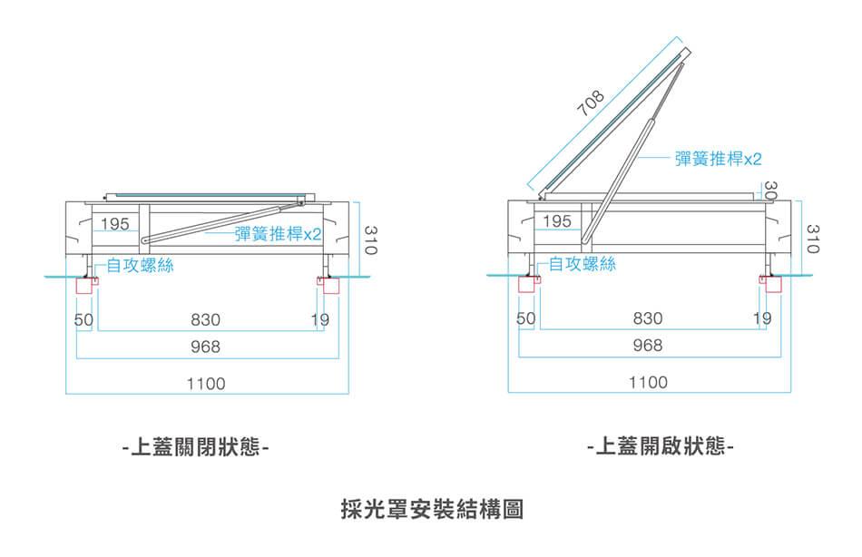 掀蓋式採光通風人孔蓋-採光罩安裝結構圖